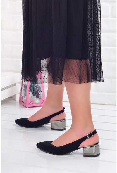 Ayakland 510-74 Süet Platin Ayna 3 Cm Kadın Orta Boy Topuk Ayakkabı Siyah