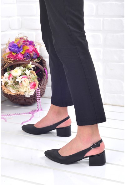 Ayakland 510-74 Cilt 3 Cm Kadın Orta Boy Topuk Ayakkabı Siyah