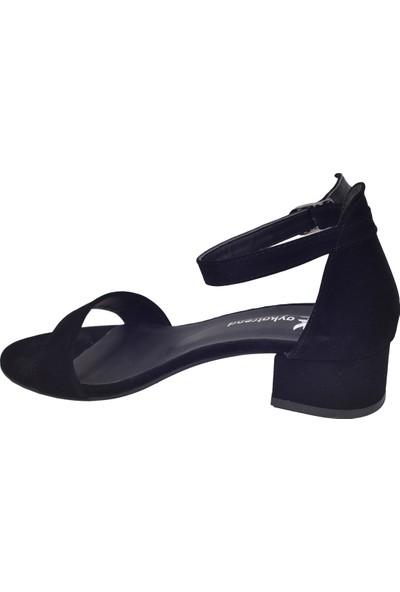 Ayakland 352-05 Süet 3 Cm Kadın Orta Boy Topuk Ayakkabı Siyah