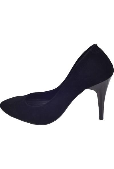 Ayakland 1943-71 Süet 11 Cm Topuk Kadın Stiletto Ayakkabı Siyah