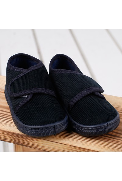 Sanbe 106P117 Okul Kreş Kız/Erkek Çocuk Keten Panduf Ayakkabı Lacivert