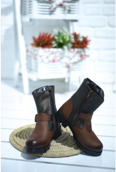 Elifsu 1837 Günlük Termo Taban Fermuarlı Kız Çocuk Bot Ayakkabı Taba