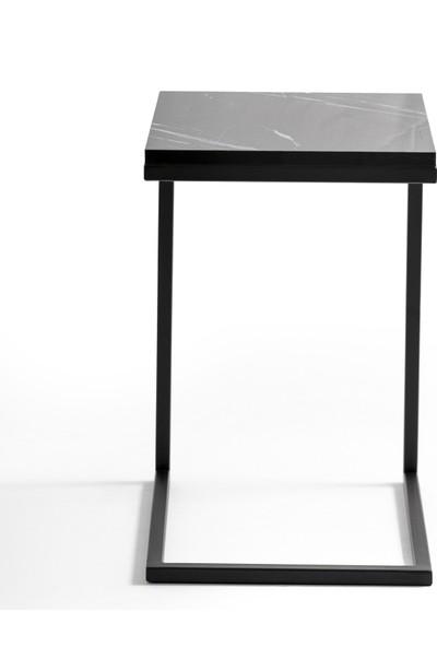 Newas Frame Siyah C Sehpa - Mermer Desenli Tabla