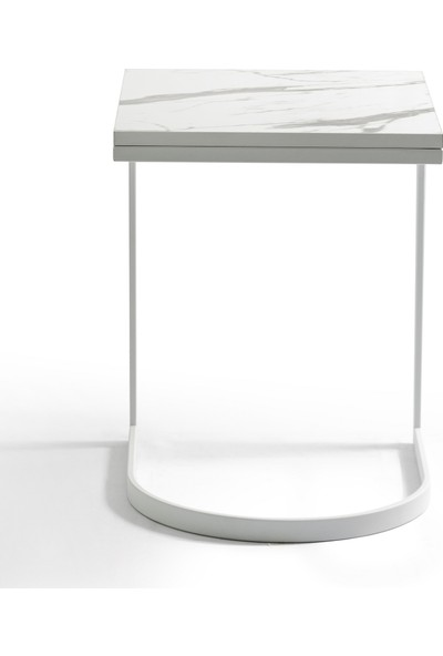Newas D Frame Beyaz C Sehpa - Mermer Desenli Tabla