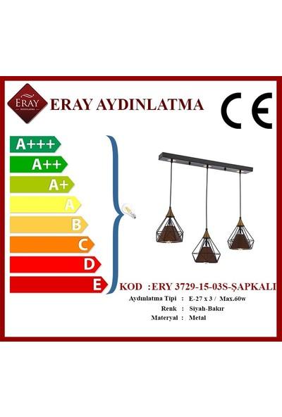Eray Aydınlatma Ery 3729-15-03-ŞAPKALI Sıralı Piramit 3 Lü Avize
