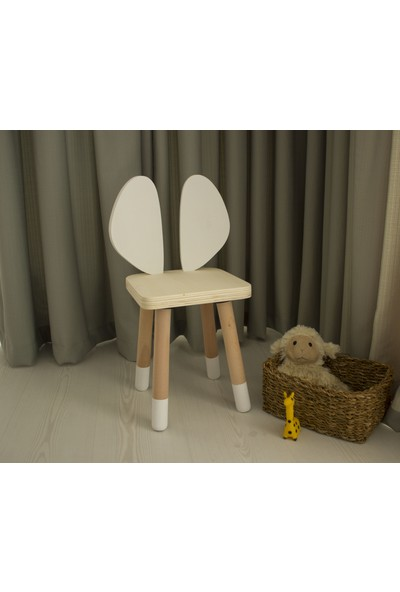 Wooda Montessori Bebek Çocuk Fare Kulak Sandalye - Beyaz