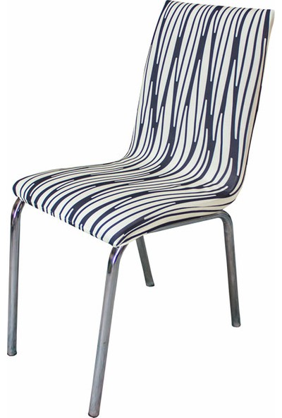 Alya Home Moderna Soft Mutfak Tipi Sandalye Kılıfı Krem Çizgili