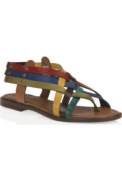 Uniquer Kadın Hakiki Deri Sandalet 101354U 105 Renkli