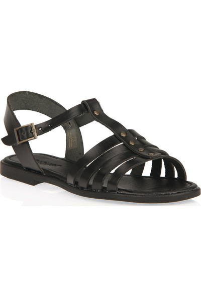 Uniquer Kadın Hakiki Deri Sandalet 101354U 107 Siyah