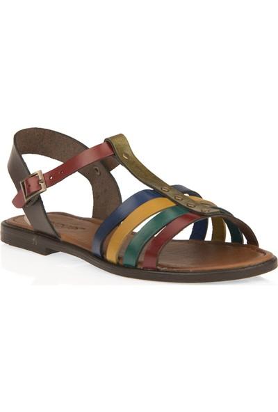 Uniquer Kadın Hakiki Deri Sandalet 101354U 107 Renkli