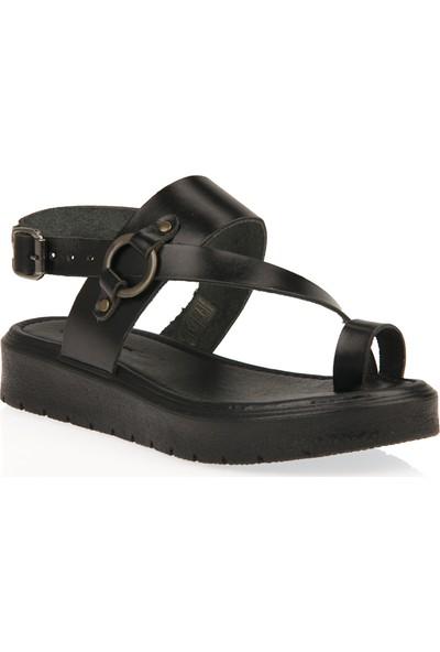 Uniquer Kadın Hakiki Deri Sandalet 101354U 311 Siyah