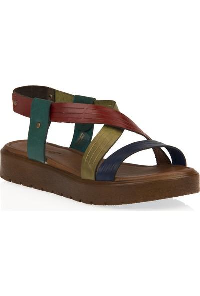 Uniquer Kadın Hakiki Deri Sandalet 101354U 322 Renkli