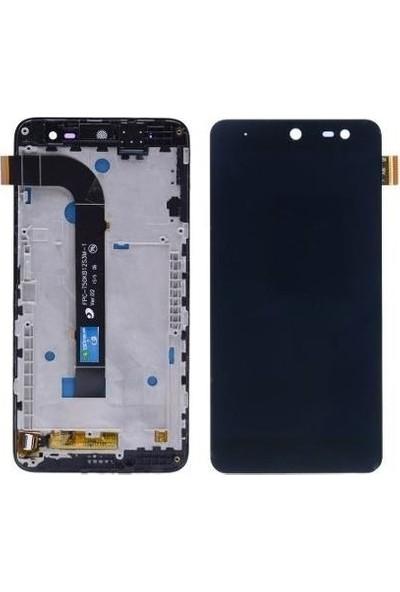 Ekranbaroni General Mobile GM5 LCD Dokunmatik Çıtalı Çerçeveli Ekran Beyaz