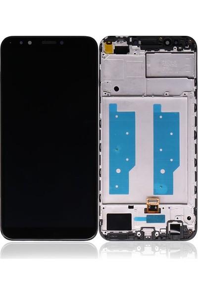 Ekranbaroni Huawei Y7 2018 LCD Ekran Dokunmatik Cam Çıtalı Çerçeveli Siyah
