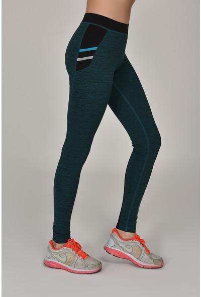 Bilcee Tropikal Kadın Sporcu Tayt Aw-6570