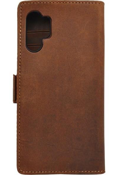 Teleplus Samsung Galaxy Note 10 Plus Kılıf 2in1 Mıknatıslı Kartlıklı Deri Cüzdan Kahverengi
