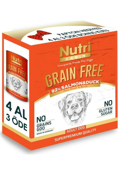 Nutri Canin %92 Somon Ördek Tahılsız Köpek Konservesi 4 x 400 gr