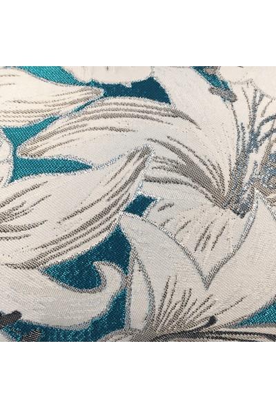Arasta Design Turkuaz ve Gri Renkli Simli Işlemeli Çiçek Desenli Kırlent Kılıfı