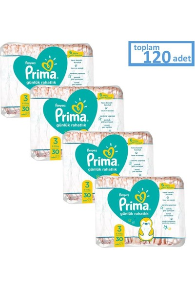 Prima Pampers Günlük Rahatlık 3 Beden 30'lu x 4 Paket