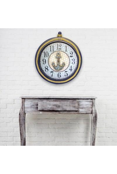 Akron Dekoratif Halatlı El Yapımı Ahşap Duvar Saati