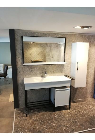 Bagnotti Vela 120 cm Metal Gövdeli Beyaz Siyah Banyo Dolabı