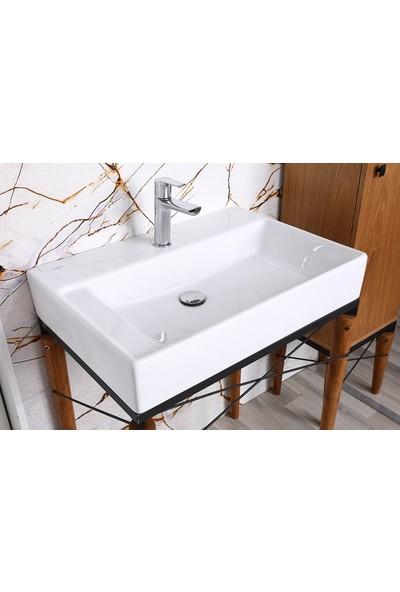 Bagnotti Hitit 70 cm Metal Gövdeli Açık Meşe Banyo Dolabı