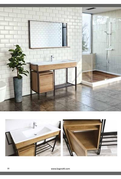 Bagnotti Vela 100 cm Metal Gövdeli Beyaz Siyah Banyo Dolabı