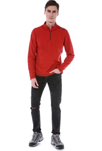 Q Active Kırmızı Erkek Yarım Siyah Fermuar Polar