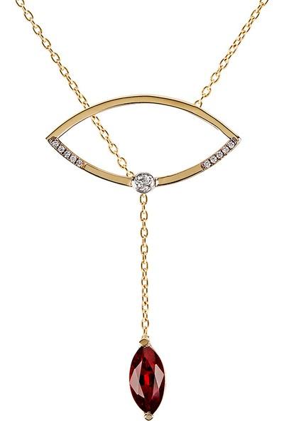 Clavis Jewelry Markiz Drop Yakut Pırlanta Kolye CKL0917