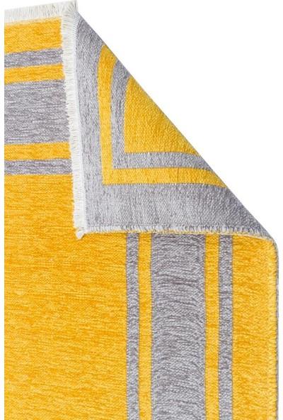 Eko Halı Noa Nk 06 Grey Yellow Gri Sarı Yıkanabilir Çift Taraflı Kilim