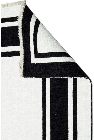 Eko Halı Noa Nk 06 Black White Siyah Beyaz Yıkanabilir Çift Taraflı Kilim