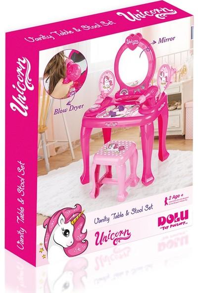 Dolu Unicorn Ayaklı Makyaj Seti ve Sandalye Seti