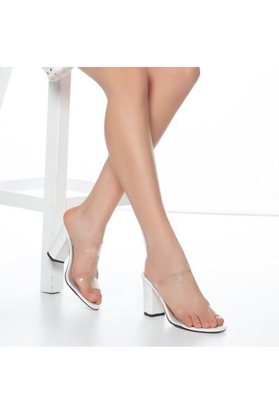 Muggo W703 Şeffaf Kadın Topuklu Terlik