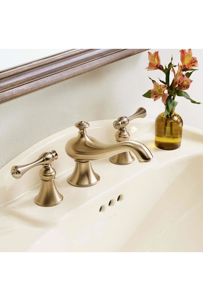 Kohler Revival Traditional Handle 3 Delikli Lavabo Bataryası Brushed Bronz