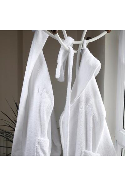 Marie Claire Otel Serisi-Bornoz L Beden Dublın 100% Pamuk Beyaz.