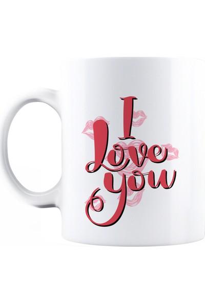 Baskımburada Beyaz Kupa Kişiye Özel I Love You BBKB00098