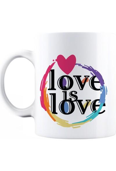 Baskımburada Beyaz Kupa Kişiye Özel Love Is Love BBKB000112