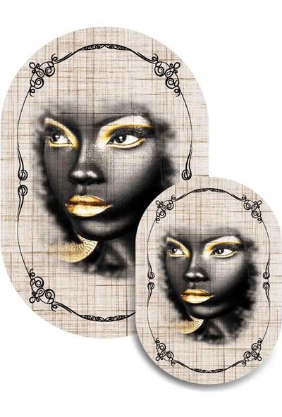 Soley Dod Süngerli Arap Kızı Figürlü Oval 2'li Banyo Paspası 60 x 100 cm ve 60 x 50 cm