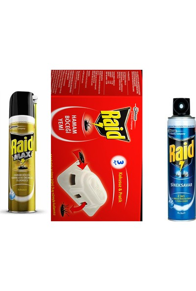 Raid Max 300 ml + Raid Hamam Böceği Yemi 6 Adet + Raid Sinek Öldürücü 300 ml