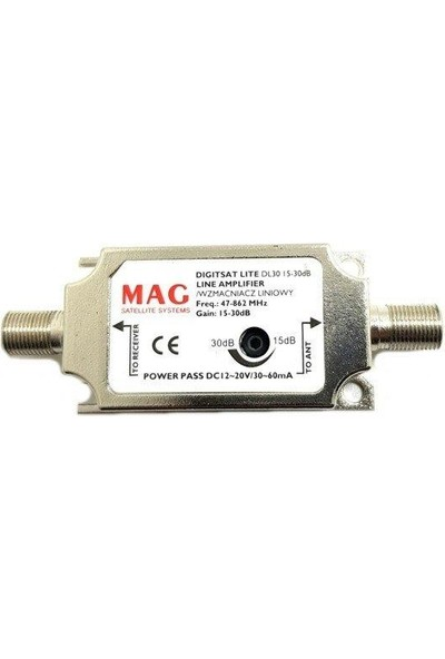 Mag DL30 Ayarlı 15-30DB Uydu Hat Yükseltici Line Amplifier