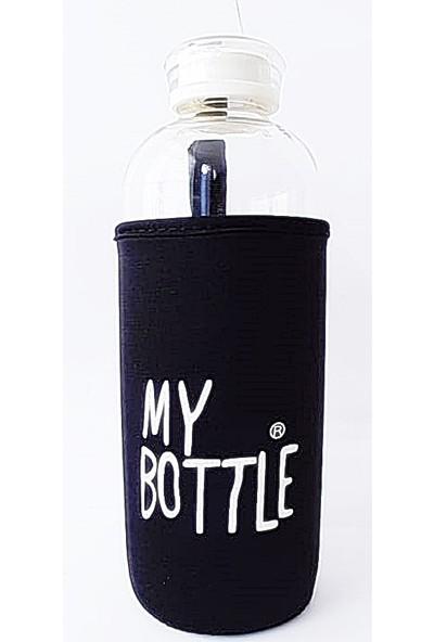 My Bottle Borosilikat Cam Matara Cam Şişe 1 Lt Siyah