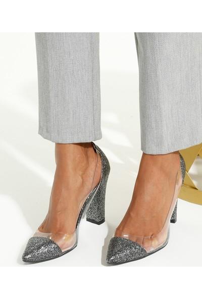 Art Shoes Simli Gri Topuklu Ayakkabı