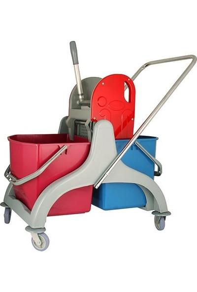 Karex Çift Kovalı Plastik Temizlik Arabası