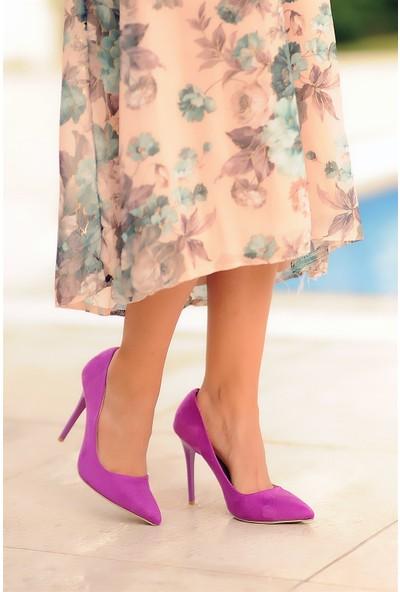 Pembe Potin Mürdüm Nubuk Kadın Topuklu Ayakkabı