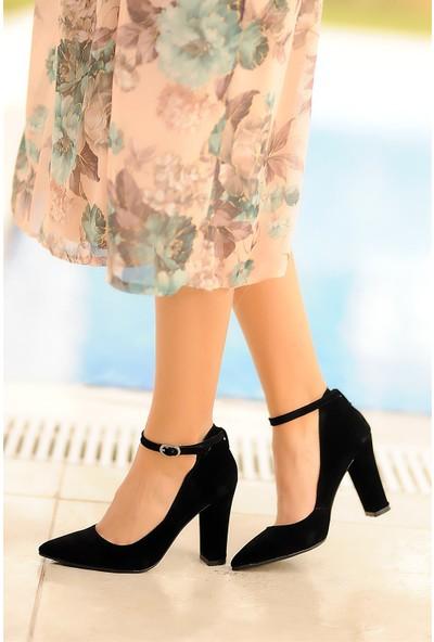 Pembe Potin Siyah Süet Kadın Topuklu Ayakkabı