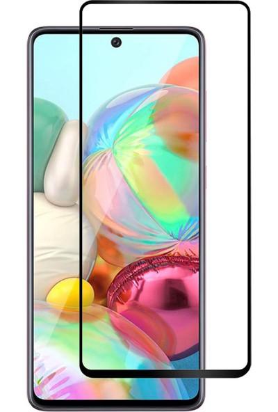 Microcase Samsung Galaxy A71 Tam Kaplayan Çerçeveli Tempered Ekran Koruyucu - Siyah