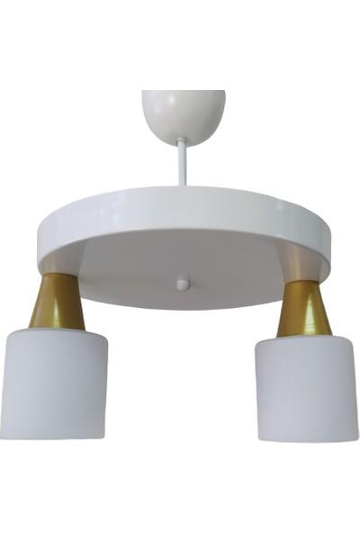 Riolight Modern Beyaz Ikili Opal Camlı Sarkıt Çap 30 cm