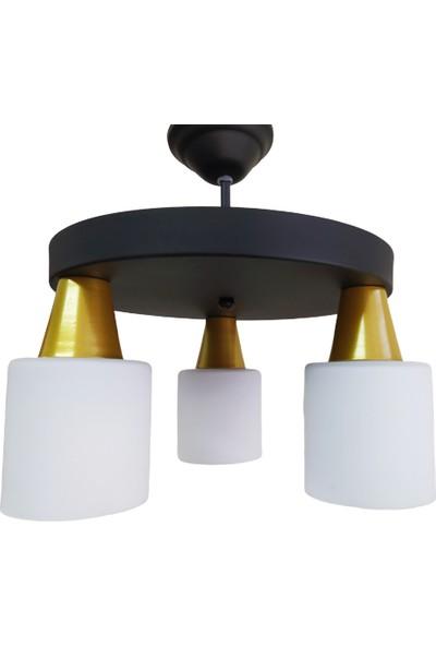 Riolight Modern Siyah Üçlü Opal Camlı Sarkıt