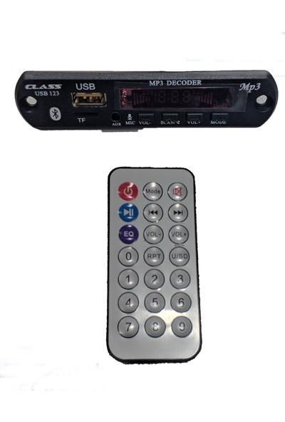 Class USB-123 Araç İçin Mikrofonlu USB/AUX/SD Kart Çevirici Modül