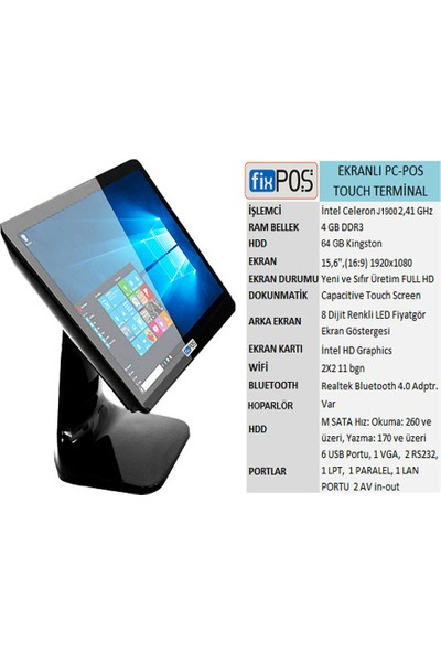 Fixpos J1800 Dokunmatik Ekranlı Pc-Pos Cihazı